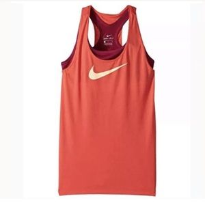 Nike 2 In 1 Tank Top Girls Medium Cut Out Racer
